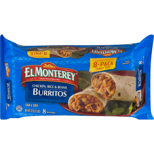 El Monterey Burritos, Chicken, Rice & Beans, Family Size