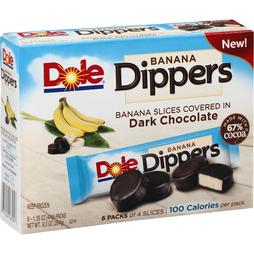 Dole Dippers Dark Chocolate Covered Real Banana Slices - 6 PK