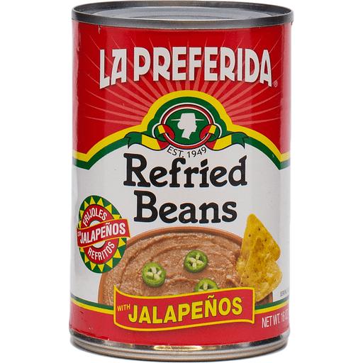 La Preferida Refried Beans, with Jalapenos