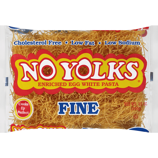 No Yolks® Cholesterol Free Egg White Pasta Fine Noodles 12 oz. Bag