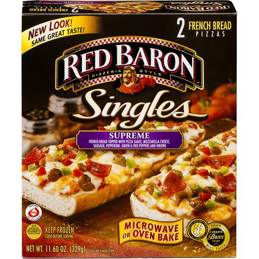 Red Baron Singles Pizzas, French Bread, Supreme