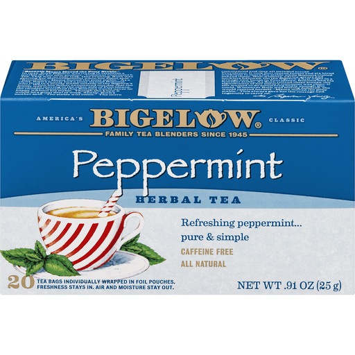 Bigelow Herbal Tea, Peppermint, Caffeine Free, Bags