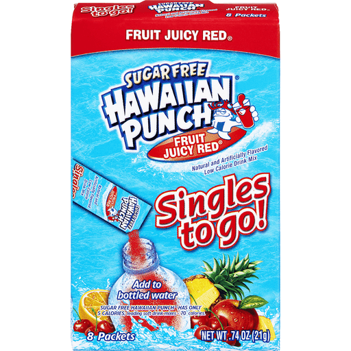 Hawaiian Punch Singles To Go! Low Calorie Drink Mix Sugar Free Fruit Juicy Red - 8 PK