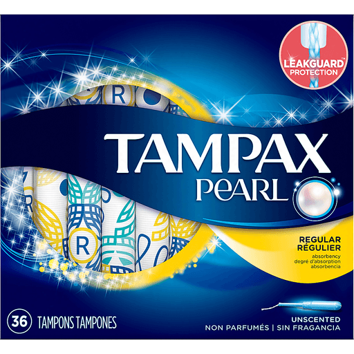 Tampax Pearl Tampons, Plastic, Regular Absorbency, Unscented