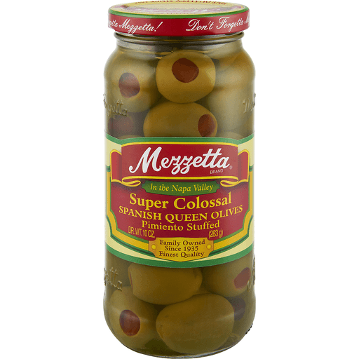 Mezzetta Olives, Spanish Queen, Super Colossal, Pimiento Stuffed
