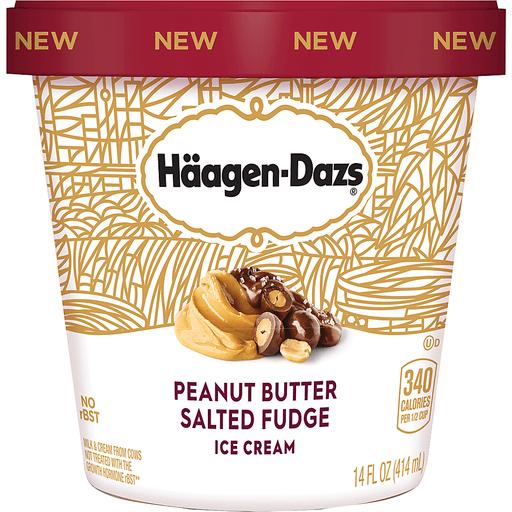 Haagen Dazs Ice Cream, Peanut Butter Salted Fudge