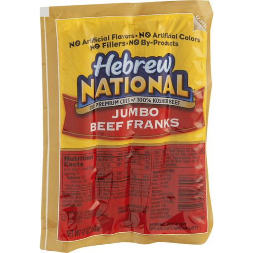 Hebrew National Franks, Beef, Jumbo