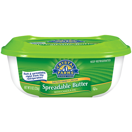 Crystal Farms® Salted Sweet Cream Spreadable Butter with Canola Oil 8 oz. Tub