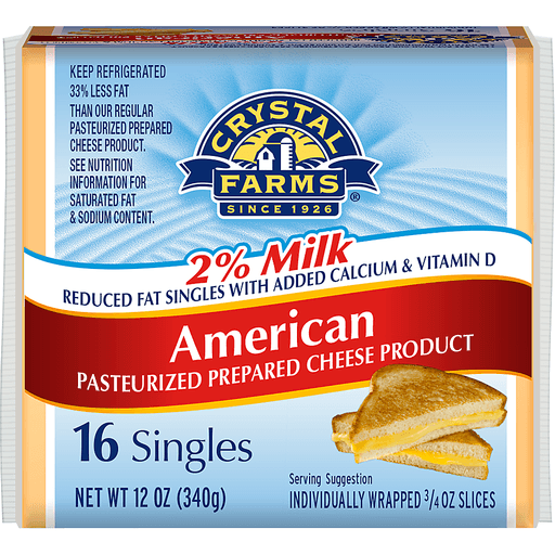 Crystal Farms® 2% Milk American Cheese Slices 16 ct Pack