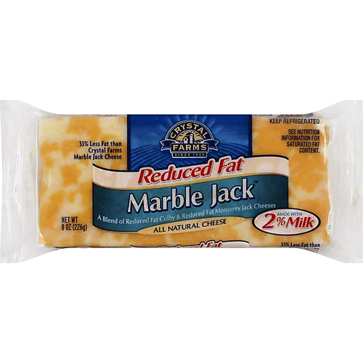 Crystal Farms Cheese, Marble Jack, Reduced Fat