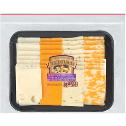 Crescent Valley Cheese Slices Pepper Jack Colby-Jack Swiss