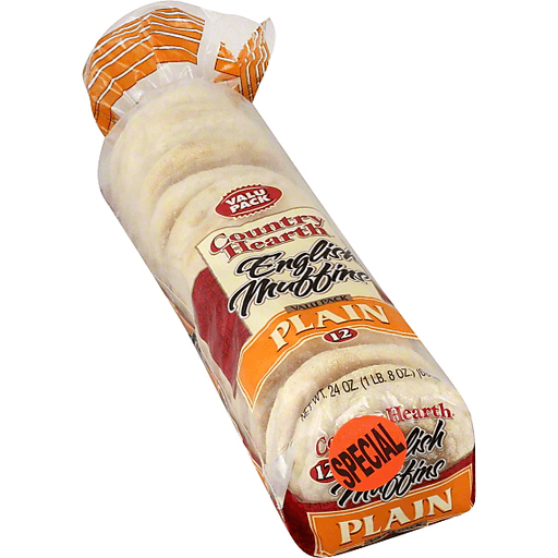 Country Hearth English Muffins, Plain, Valu Pack