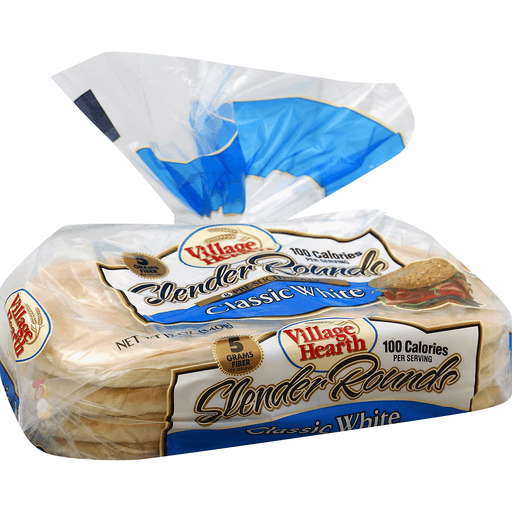 Village Hearth Rolls, Slender Rounds, Classic White, Pre-Sliced