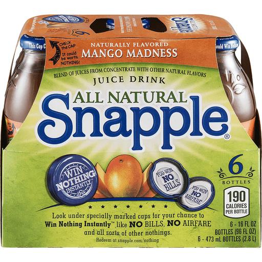 Snapple Mango Madness, 16 Fl Oz Glass Bottles, 6 Pack