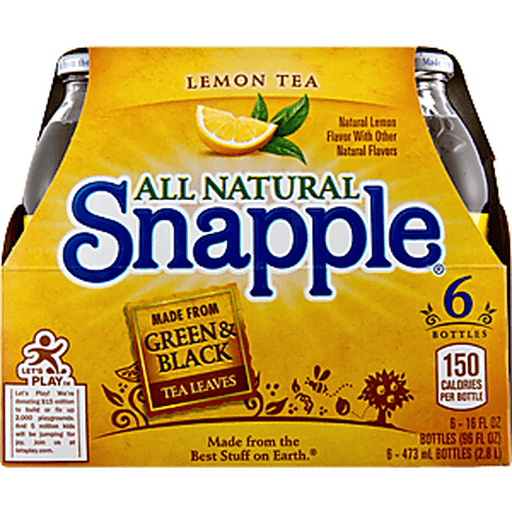 Snapple Lemon Tea, 16 Fl Oz Glass Bottles, 6 Pack