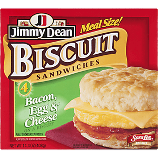 Jimmy Dean® Bacon, Egg & Cheese Biscuit Sandwiches, 4 Count (Frozen)