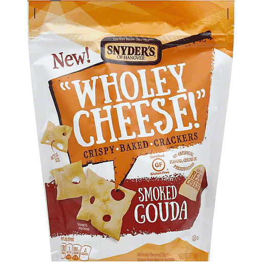 Snyders Wholey Cheese! Baked Crackers, Crispy, Smoked Gouda