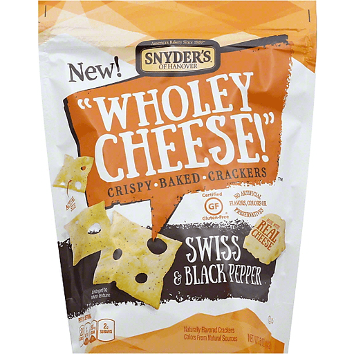 Snyders Wholey Cheese! Baked Crackers, Crispy, Swiss & Black Pepper