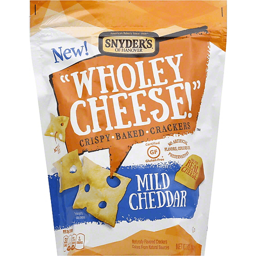 Snyders Wholey Cheese! Baked Crackers, Crispy, Mild Cheddar