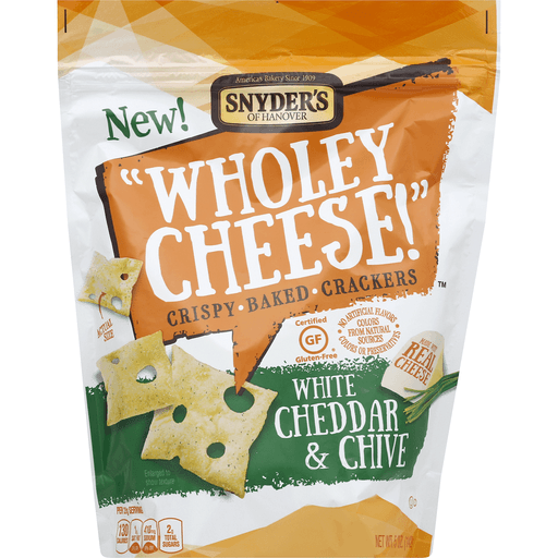 Snyders Wholey Cheese! Baked Crackers, Crispy, White Cheddar & Chive