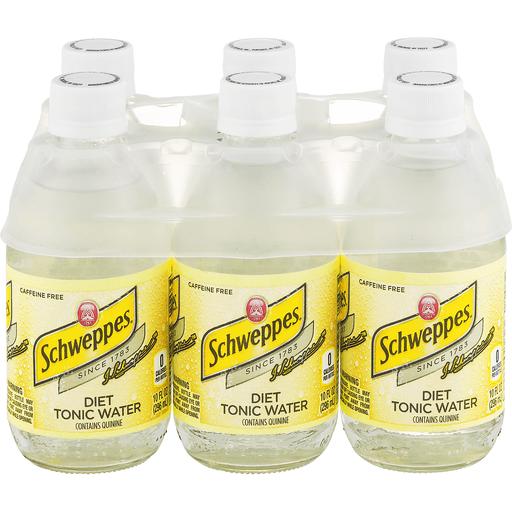 Diet Schweppes Tonic Water, 10 Fl Oz Glass Bottles, 6 Pack