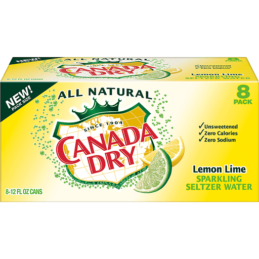 Canada Dry Seltzer Water, Sparkling, Lemon Lime Flavored, 8 Pack