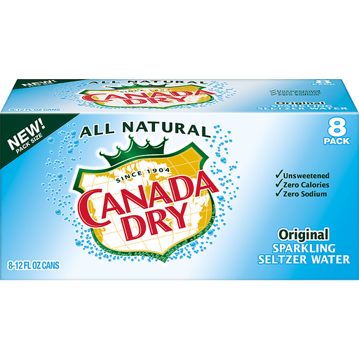 Canada Dry Original Sparkling Seltzer Water, 12 Fl Oz Cans, 8 Pack
