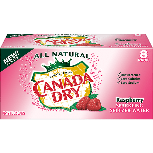 Canada Dry Raspberry Sparkling Seltzer Water, 12 Fl Oz Cans, 8 Pack