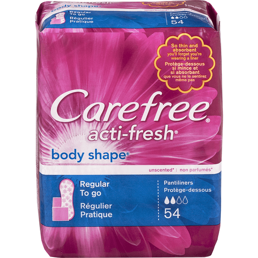 Carefree Acti-Fresh Body Shape Liners, to Go, Regular, Unscented