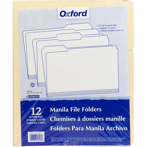 Manila File Folders Letter Size 12 File Folders OXFORD