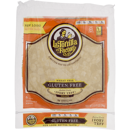 La Tortilla Factory Wraps, Wheat Free, Gluten Free, Ancient Grain, Ivory Teff