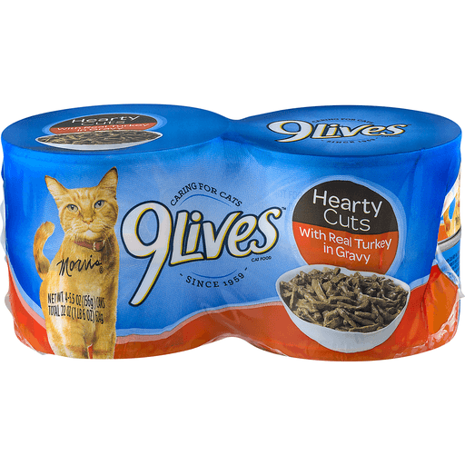 9 Lives Cat Food, with Real Turkey in Gravy, Hearty Cuts