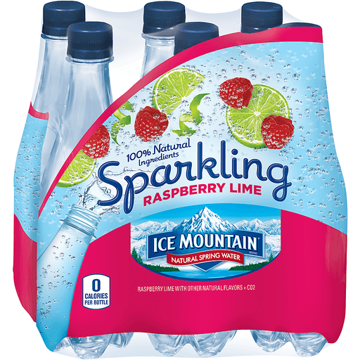 Ice Mountain Natural Spring Water Sparkling Raspberry Lime - 6 PK