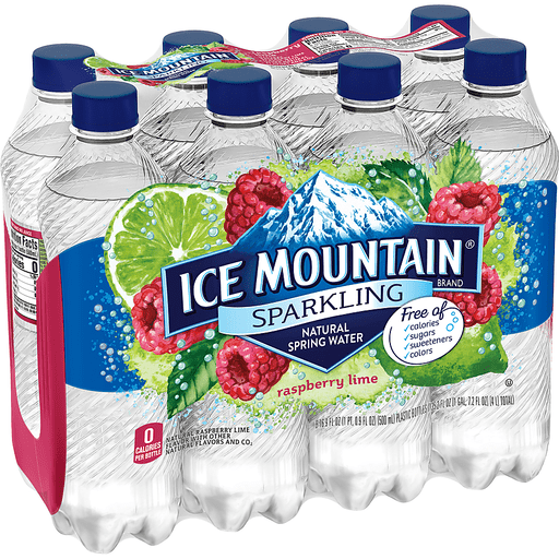 Ice Mountain Sparkling Water, Raspberry Lime, 16.9 oz. Bottles (Pack of 8)
