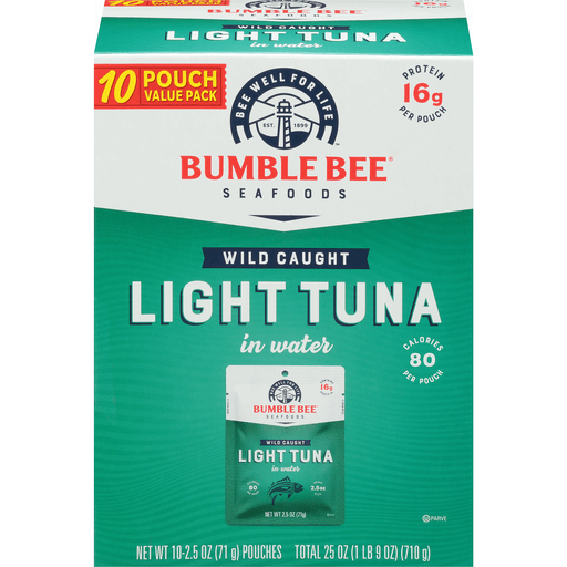 Bumble Bee Tuna in Water, Premium Light, 10 Pouch Value ...