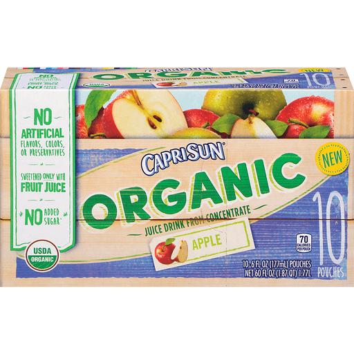 Capri Sun Juice Drink, Organic, Apple