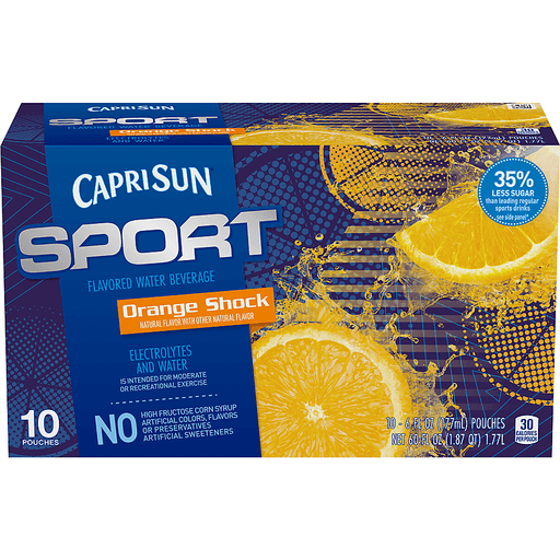 Capri Sun® Sport Orange Shock Flavored Water Beverage 10-6 fl. oz. Pouches