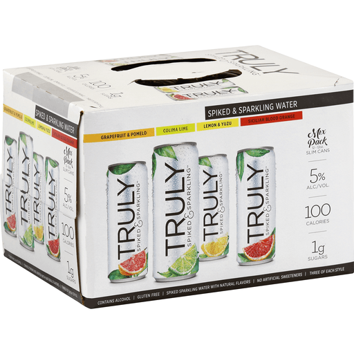 Truly Spiked & Sparkling Sparkling Water, Spiked, Slim Cans, Mix Pack