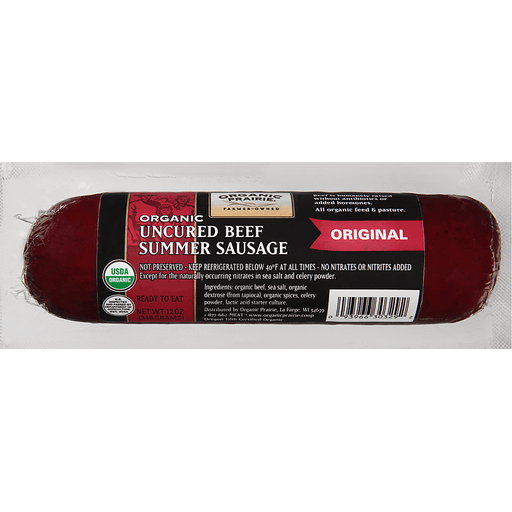Organic Prairie® Organic Uncured Beef Original Summer Sausage 12 oz. Pack
