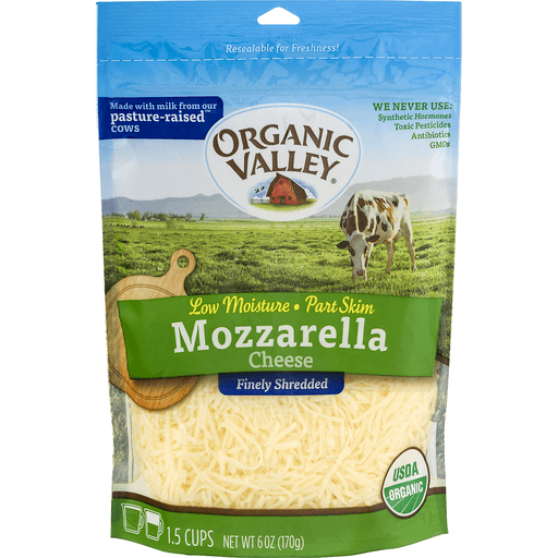 Organic Valley Cheese, Finely Shredded, Mozzarella, Low Moisture, Part Skim