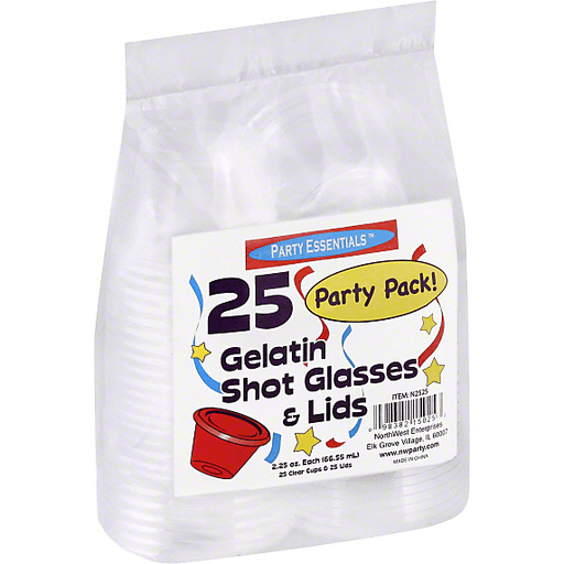 Party Essentials Shot Glasses & Lids, Gelatin, Clear, 2.25 Ounce, Party Pack!