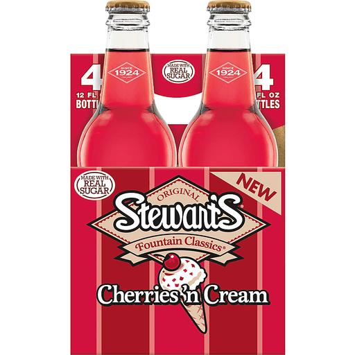 Stewart's Cherries 'n Cream Made with Sugar, 12 Fl Oz Glass Bottles, 4 Pack