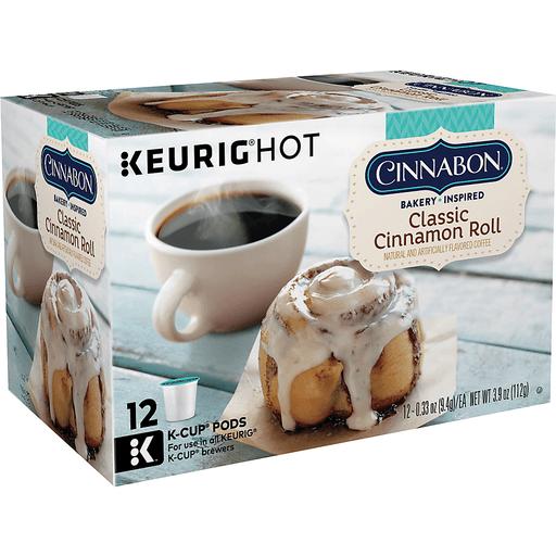 Cinnabon Keurig Hot Coffee, Light Roast, Classic Cinnamon Roll, K-Cup Pods