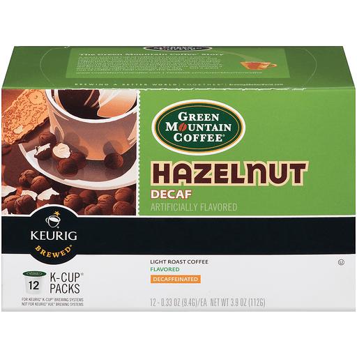 Green Mountain Keurig Hot Coffee, Hazelnut, Decaf, K-Cup Pods