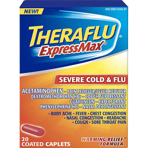 Theraflu Expressmax Severe Cold Flu Warming Relief Formula Coated Caplets 20 Ct Box