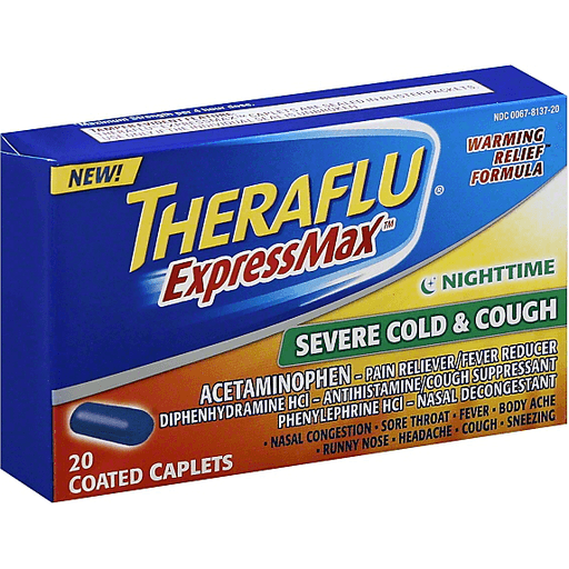 Theraflu Expressmax Severe Cold Cough Nighttime Warming Relief Formula Coated Caplets For Cough Cold Relief 20 Count