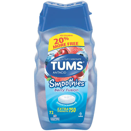 TUMS Antacid Smoothies Berry Fusion Extra Strength - 72 CT
