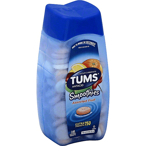 Tums Smoothies Antacid, Extra Strength 750, Chewable ...