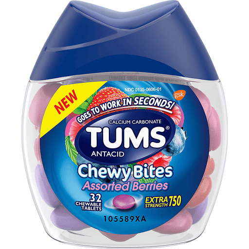 Tums Chewy Bites Antacid, Extra Strength, Assorted Berries, 750, Chewable Tablets