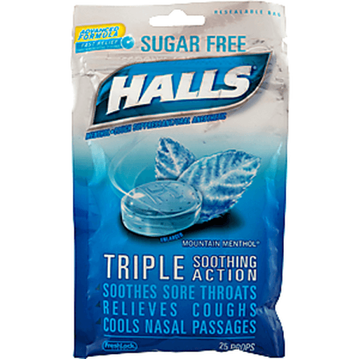 Halls Cough Suppressant/Oral Anesthetic, Menthol, Sugar Free, Mountain Menthol Flavor